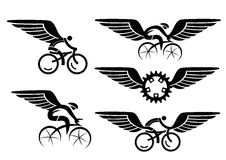 Cycling icons with wings. Set of black cycling icons with wings . Vector illustration royalty free illustration