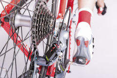 Cycling Ideas. Rear Derailleur and Cassette Sprokets Along With Royalty Free Stock Images