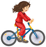 Cycling. Illustration of girl cycling white background royalty free illustration