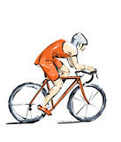 Cycling illustration man practice boating. Cycling, free throw during a sports competition Stock Photo