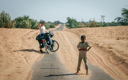 Cycling Through Indian Desert Stock Photos