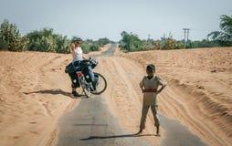 Cycling Through Indian Desert Stock Photos