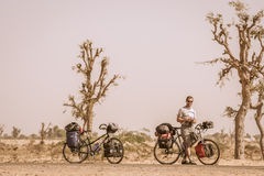 Cycling Through Indian Desert Stock Images