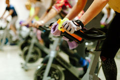 Cycling indoors workout royalty free stock photography