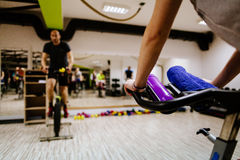 Cycling indoors workout Royalty Free Stock Photos
