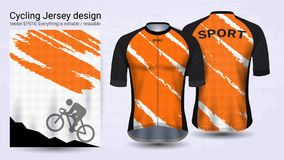 Cycling Jerseys, Short sleeve sport mockup template, Graphic design for bicycle apparel or Clothing outerwear and raingear uniform. S, Easily to change logo vector illustration