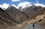 Cycling on Karakorum Highway Stock Image
