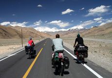 Cycling on Karakorum Highway Royalty Free Stock Photos