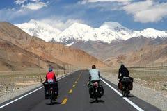 Cycling on Karakorum Highway Stock Images