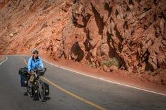 Cycling Karakorum Highway Stock Photo
