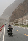 Cycling on Karakorum Highway Stock Images