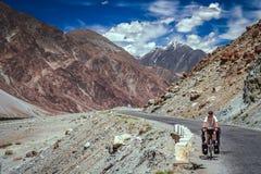 Cycling on Karakorum Highway Stock Photos