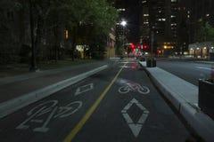 Cycling Lane in Calgary, Alberta, Canada. Cycling Lane in Downtown Calgary, Alberta, Canada Stock Photography