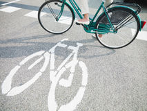 Cycling lane sign Stock Images
