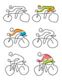 Cycling line art icons. Simply line art icons set with cyclist.Vector available Stock Photos