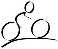 Cycling logo. Cyclist on his bike, illustration sketch Royalty Free Stock Photos