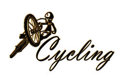 Cycling Logo isolated over white. 3D Illustration composition for Cycling icon or Bicycling logo isolated over white Royalty Free Stock Photo