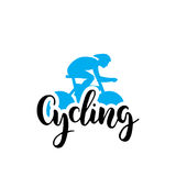 Cycling logo lettring. Vector of the cyclist combined with the inscription made by hand with a brush. Lettering composition on the theme of Cycling, isolated on stock illustration