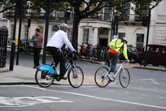 Cycling in London. People cycling on the road in London,UK stock photos