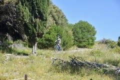 Cycling Lush Rottnest Island. ROTTNEST ISLAND,WA,AUSTRALIA-OCTOBER 16,2016: Tourist cycling through lush, natural coastal landscape at Rottnest Island in Western Royalty Free Stock Photo