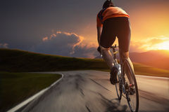 Cycling. Man on a road bike Royalty Free Stock Photography