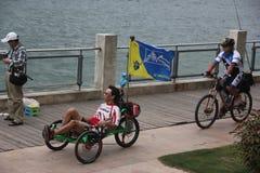 Cycling man At the seaside Royalty Free Stock Image
