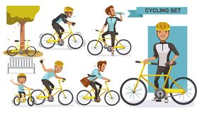 Cycling man. Set. male road cyclist. guy riding urban bicycle  in helmet. Ride the bike together with the boys. city bike Relax in the park, exercise, Go to Royalty Free Stock Images