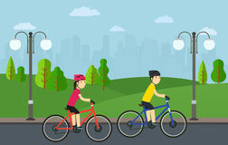 Cycling, man with woman on bikes ride in city park. Illustration Royalty Free Stock Photography