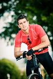 Cycling man stock image