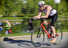 Cycling. Michael Carew from Ottawa during the 35.4km cycle in the 2013 Somersault Early Bird Long Triathlon in Ottawa, Canada on May 18 2013. Michael finished Stock Photo