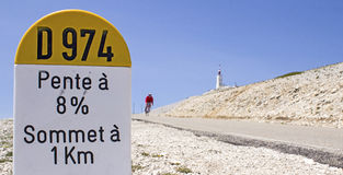 Cycling at Mont Ventoux. Mount Ventoux, milestone in roadside. France Royalty Free Stock Photography