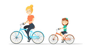 Cycling. Mother and daughter are riding bikes. Vector illustration of a flat design vector illustration