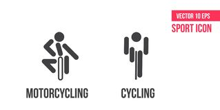 Cycling and motorcycling sign icon, logo. Set of sport vector line icons. athlete pictogram. Cycling and motorcycling sign icon, logo. Set of sport vector line vector illustration