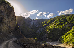 Cycling mountain road. Misty mountain road in high mountains.. Cloudy sky with mountain road. Big Caucasus. Azerbaijan Lahic Royalty Free Stock Images