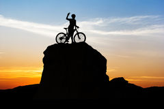 Cycling at mountain on twilight time Royalty Free Stock Image