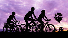 Cycling at mountain on twilight time Stock Photography