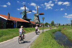 Cycling in the Netherlands Stock Photo