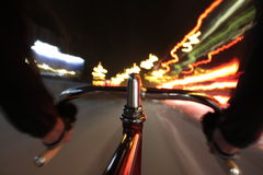 Cycling by night Stock Image