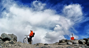 Cycling on Ojos Del Salado Royalty Free Stock Photography