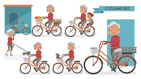 Cycling Older. Set. Grandma and little niece. female Relax in the  city bike, Doggy, exercise, Go to work, go to the market, flower in a bicycle basket. Vector Royalty Free Stock Photography