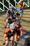 Cycling on a oval track Royalty Free Stock Photos