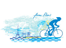 Cycling in Paris - Grunge Poster Stock Image