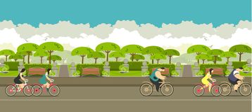 Cycling in the park vector illustration