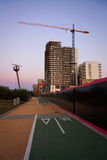 Cycling path on the bank of Thames, London. Royalty Free Stock Photos