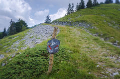 Cycling path mark. In slovenian mountains near Soriska planina Royalty Free Stock Photos
