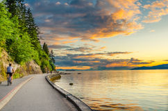 Cycling Path at Sunset Royalty Free Stock Photography