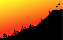 Cycling in the Peak. Illustration, Sunset Mountain Scene Stock Photography