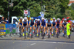 Cycling peloton finishing. Cycling peloton passing the finish on Varna city street -participants in the first International Cycling Tour of Bulgarian Black Sea Stock Photography