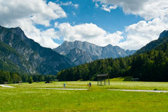 Cycling in Planica Valley Stock Image