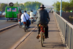 Cycling on the Pont des martyrs Bridge Stock Photography